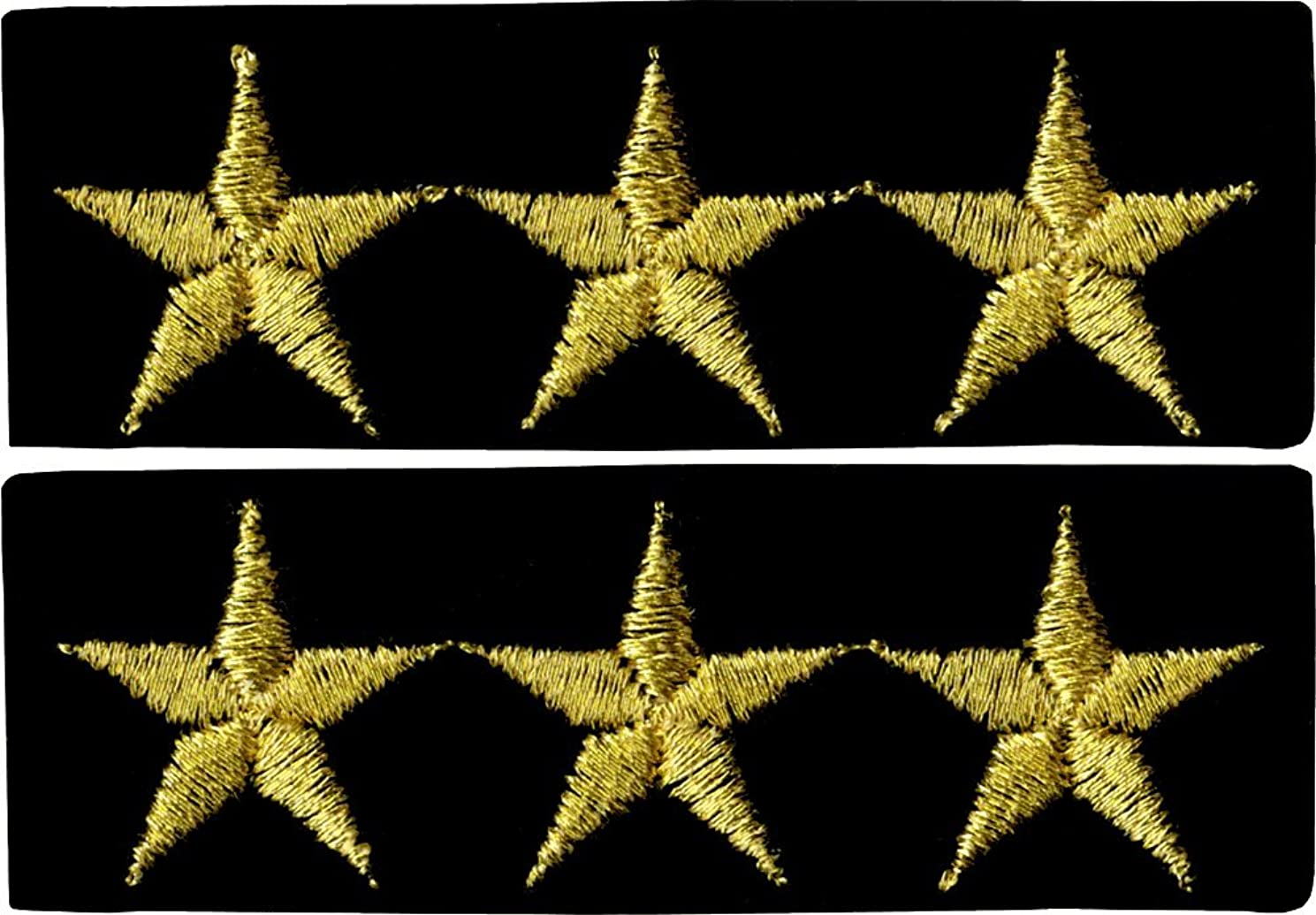 0 Military 3 Star General Logo - 2 FOR THE PRICE OF ONE!!! - Embroidered Iron On or Sew On Patch, Gold, Black, 2.625
