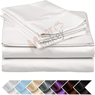 Minor Monkey Egyptian Cotton 1000 Thread Count 4 PC Solid Bed Sheet Set True Luxury Hotel Collection Fits Up to 17 Inches Deep Pocket (King, White)