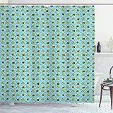 ABAKUHAUS Honey Bee Duschvorhang, Cartoon-Stil Glückliche Bienen, Moderner Digitaldruck mit 12 Haken auf Stoff Wasser & Bakterie Resistent, 175x200 cm, Sky Blue Mustard