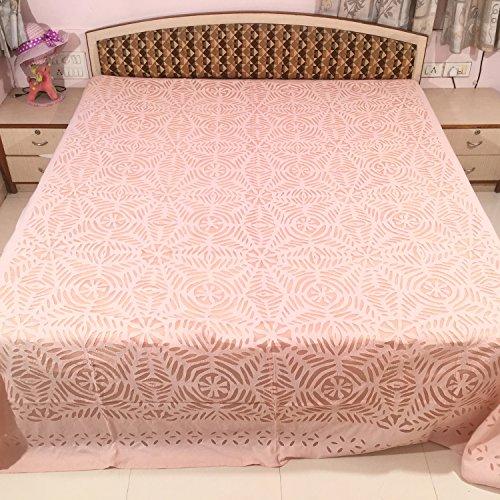 MinkysDecor Handgefertigter indischer traditioneller Überwurf aus 100 prozent Baumwolle, Organza-Bettbezug, Überwurf, Teppich, Tagesdecke, Tischtuch, Tapisserie, 220 cm x 270 cm – Kastanienbraun