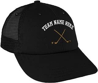Custom Snapback Baseball Cap Hockey Sticks Embroidery Team Name Cotton Mesh Hat