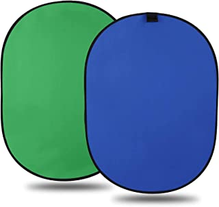 LTRINGYS Chromakey Green Screen Backdrop 5 x 7 ft 2 in 1 Collapsible Reversible Multi-Disc Background Popup Blue with Bag ...
