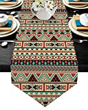 Native American Table Runner 13x120inch, Machine Washable Table Cloth Runners for Party Wedding Banquet Events Decor, Burlap Linen Fabric Table Runners - Ethnic Indian Style Aztec Geometric Triangle