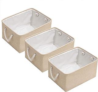 Dake Boîte de Rangement Pliable en Faux Lin Lot de 3, Panier de Rangement avec poignées en Corde Panier Rangement en Tissu...