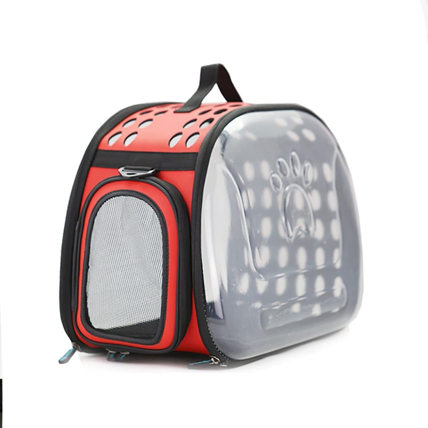 GWM Backpacks Transparent pet Carrier,Cat Travel Bag,Breathable and Lighteweight for Cat, Rabbit and Other Small Medium Sized Pets,28  45  32cm (color   Red)