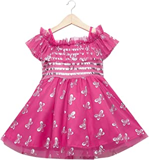 Hopscotch Baby Girls Cotton Sleeveless Semi Party Dress in Purple Color