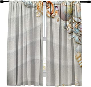 Misscc Blackout Curtains White Sand Beach with Starfish and Seashells?Pattern Window Curtains,Window Treatments Draperies for Bedroom Living Room Kitchen Cafe 2 Panels Set