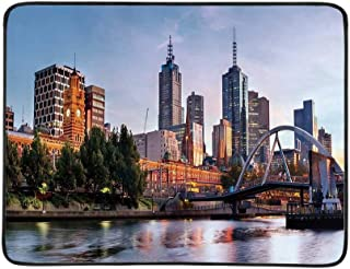 YOLIYANA City Utility Beach Mat,Early Morning Scenery in Melbourne Australia Famous Yarra River Scenic for Home,One Size