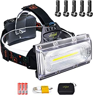 Head Torch, LETOUR LED Head Torch Rechargeable, 2500Lumens Super Bright Head Torch Waterproof USB Camping Headlamp for Fis...