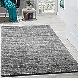Paco Home Teppich Modern Wohnzimmer Kurzflor Gemütlich Preiswert Meliert in Grau Creme