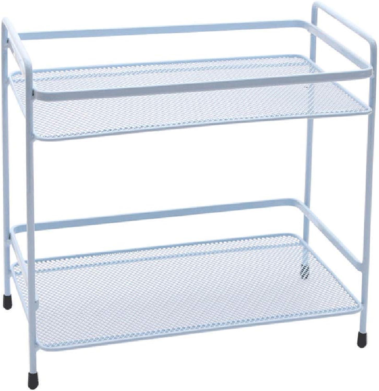 Shelf, Kitchen Bathroom Bedroom Shelf, Household Wrought Iron Desktop Storage Rack, Macarons Multicolor Optional (L25.5cm × W16.5cm × H24.5cm) (color   bluee)