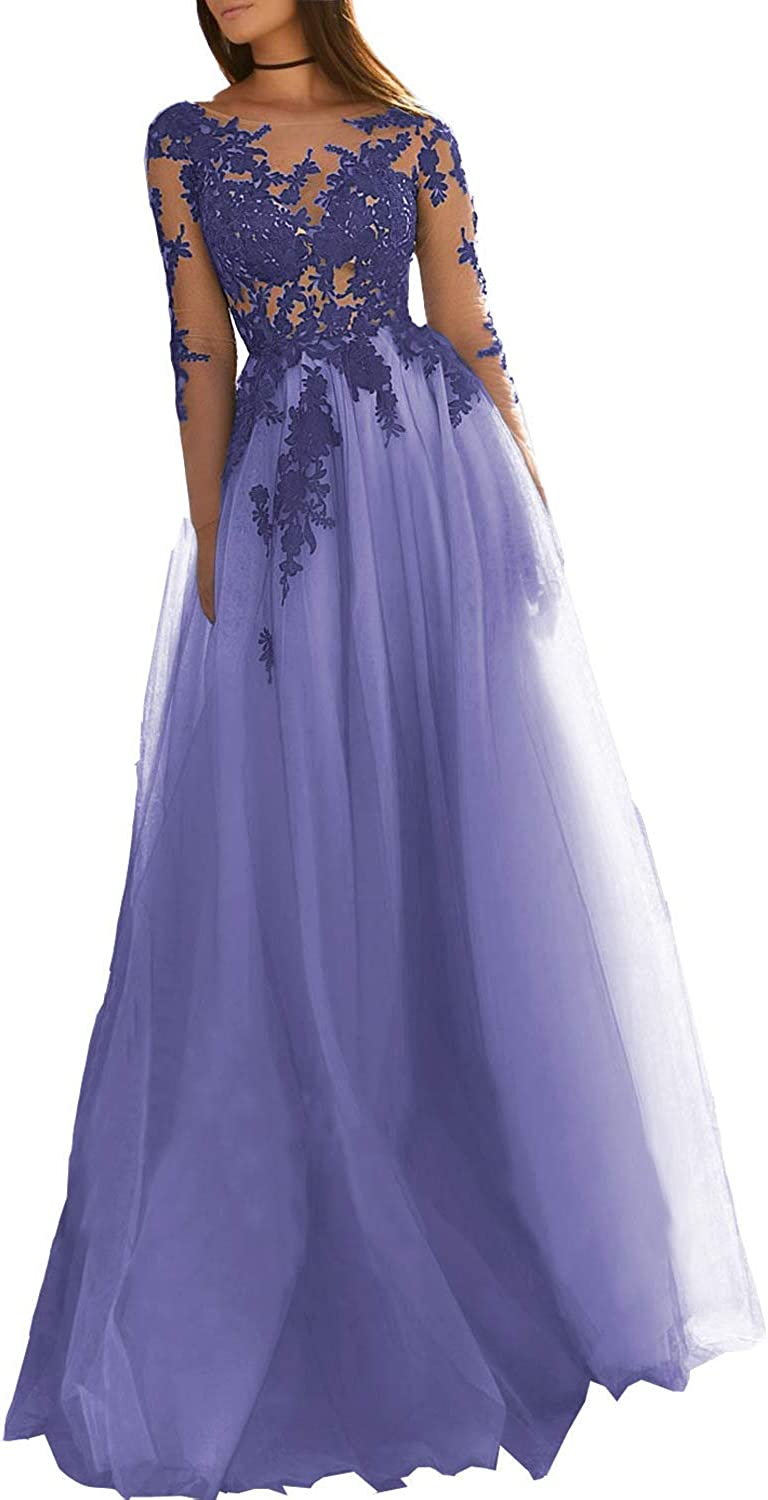 Sulidi Women's Long Sleeves Lace Applique Tulle Prom Dress Aline Open Back Evening Ball Gown C049