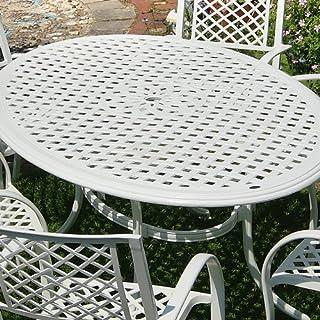 Lazy Susan Weißes Nicole 180cm Ovales Gartenmöbelset Aluminium - 1 Weißer NICOLE Tisch + 6 Weiße MARY Stühle