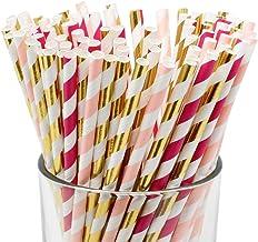 Just Artifacts Premium Biodegradable 100pcs Decorative Paper Straws (Color: LightPink/Fuchsia/MetallicGold)