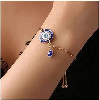 JczR.Y Vintage Blue Evil's Eyes Bracelet Link Chain Fashion Ethnic Adjustable Rhinestone Blue Eye Bracelet Bangle for Wome...