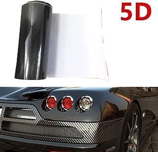DragonOne 5D ブラック(黒) 自動車用高品質ハイライト リアルカーボンシート シール ラッピングフィルム 汎用 エア抜き溝仕様 (30cm x 200cm)
