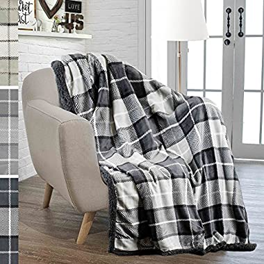 PAVILIA Premium Plaid Fleece Sherpa Throw Blanket | Super Soft, Cozy, Lightweight Microfiber, Reversible, All Season for Couch or Bed (Charcoal, 50 x 60 Inches)