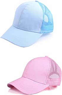 M_Eshop 2 Pack of Women Girls Ponytail Baseball Cap Mesh Trucker Ponycap