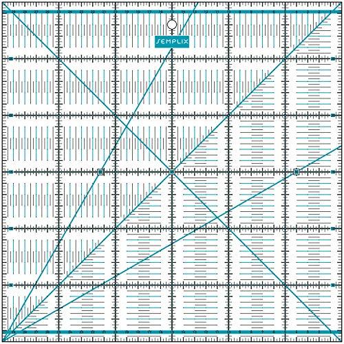 SEMPLIX Patchwork-Lineal Quilt-Lineal, transparent, mit cm-Skala und Winkelfunktionen, ideal für Patchwork und zum Basteln, 30 x 30 cm (türkis)