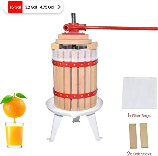 1.6 Gallon Fruit Wine Press - 100% Nature/Healthy Apple&Grape&Berries Crusher Manual Juice Maker for Kitchen, Solid Wood Basket with 2 Blocks Cider Wine Making Press (LFGB Certified,Heavy Duty)