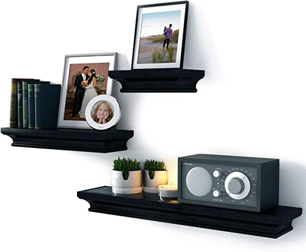 Brightmaison Wall Mounted Crown Molding Black Floating Shelves Picture Ledge 3 Set Shelf For Frames Book Display Varying Sizes D Cor