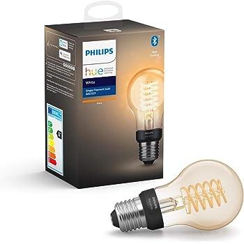 Philips Hue Ampoule LED Connectée White Filament E27 Forme Standard, Compatible Bluetooth 7 W, Fonctionne avec Alexa et Google Assistant