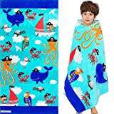 """Beach Pool Swim Towels for Kids, 60"""" X 30"""" Oversized Unique Cotton Towel, Soft Plush Absorbent Thick Blanket for Boys Girls Travel Swimming Surf Bath Camping, Sea Pirate Squid Theme"""