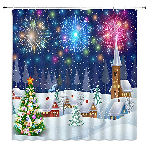 Merry Christmas Shower Curtain,Christmas Tree Fireworks Celebrate Snow Covered Town Fabric Bathroom Decor,Hooks Included,71 X 71 Inches,White Green