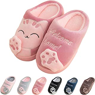 Boys Girls Slippers Kids Cute Animal House Slippers Fur Lined Warm Home Slipper Winter Indoor Shoes Anti Skid Sole