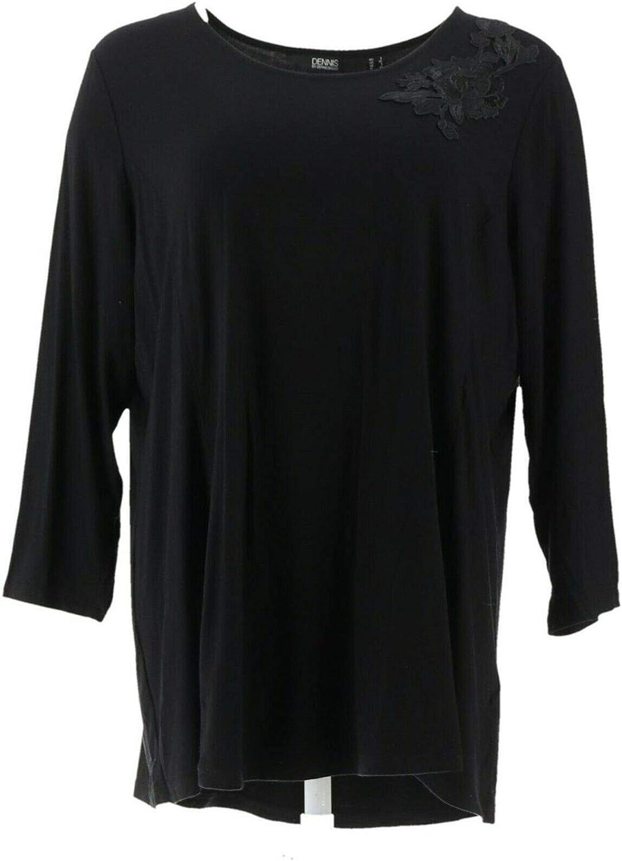 Dennis Basso Soft Touch Knit Tunic Applique Black 1X New A349306