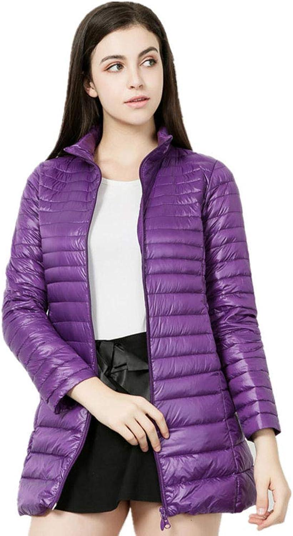 Women's Ultra Light Standing Collar Packable Winter Puffer Down Jacket Zipper Casual Warm Outwear Plus Size,Purple,M