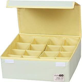 HOMESGU Cute Pattern Adjustable 16 Grid Drawer Organizer Closet Organizer Bra Underwear Socks Drawer Divider Units with Dust-Proof lids(16-Grid(Space Adjusted Freely 32×32×12cm), Pure Green)