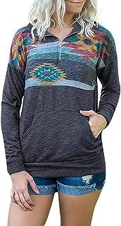 Loose Fashion Womens Long Sleeve Print Pockets Zipper Sweatshirt Pullover Blouse Tops