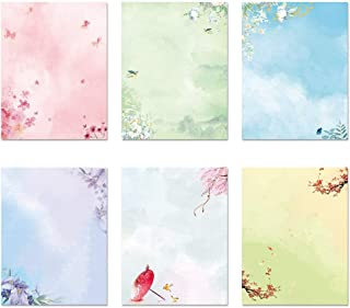 ست ثابت کاغذ تحریر نامه تحریر ژاپنی ، 48 بسته کاغذ ثابت و پاکت نامه مجموعه طرح نقاشی جوهر - 48 مقاله ثابت 24 پاکت
