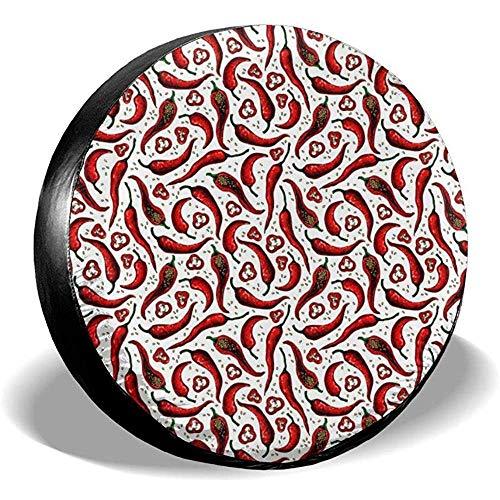 Dem Boswell Rueda de Repuesto Cubierta del neumático Patrón de Chile Potable Poliéster Universal Impermeable Protector Solar a Prueba de Polvo Ajuste Universal