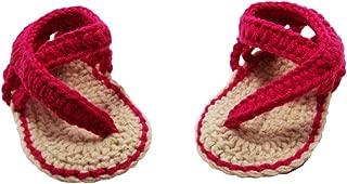 Wholesale Princess Baby Crochet Sandals - Hot Pink & Tan