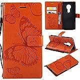 Haiqing Coque pour Moto E5, motif papillon, fleurs et fleurs, en cuir synthétique avec dragonne,...