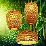 Lámpara de techo de bambú tejida a mano, doble capa, pantalla de bambú tejida, lámpara de techo...