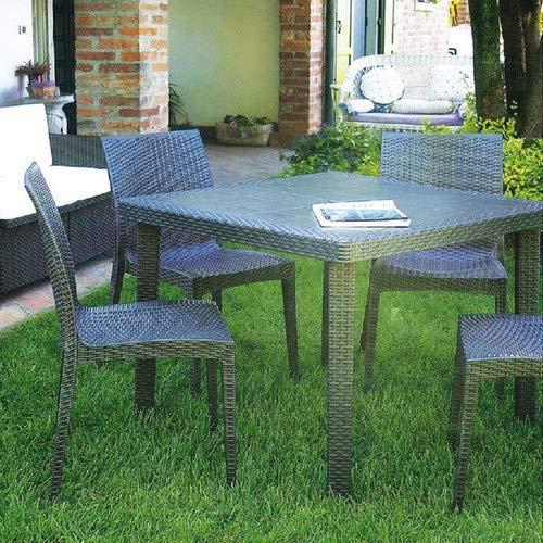 Grandsoleil Boheme Greenpol Table à Carreaux, Vert, polymère, Anthracite, 90 x 30 x 74.5 cm