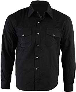 Bikers Gear Australia Motorcycle Kevlar Aramid Lined Protective Flannel Shirt Solid Black with CE 1621-1 Removable Armour ...