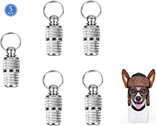 Taosings Pet ID Tags, Personalized Stainless Steel Dog ID Tags, Cat ID Tags, Customer Animal Name identification Barrel Tube Collar for Dog Cat, 5 Pack