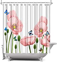 ArtBones Floral Shower Curtain Blooming Pink Poppy Flower and Butterflies Polyester Fabric Waterproof Bathroom Accessories 12 Hooks 72x72