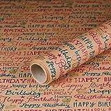 Geschenkpapier Happy Birthday, Kraftpapier, glatt, 60 g/m², Geburtstagspapier, Vintage-Stil - 1 Rolle 0,7 x 10 m
