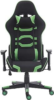 WV LeisureMaster Sillas de juegos para adultos con ajuste de altura y ángulo reclinables sillas de escritorio con reposacabezas y almohada lumbar (verde)