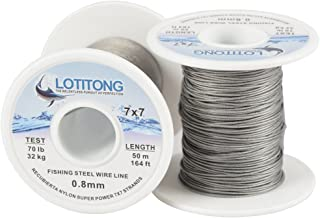 LOTITONG 50 Meters 70 pound Test Fishing steel wire line 7x7 strands 0.8mm Trace Coating Wire Leader Coating Jigging Wire Lead Fish Jigging Line Fishing Wire Stainless Steel Leader Wire
