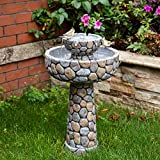 Glitzhome 2-Tier Stone Like Outdoor Water Fountain with Birds Decor Floor Waterfall Water Fountain with Pump for Garden Yard Patio Deck Porch - 24.41 Inch