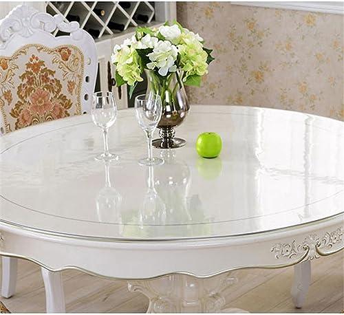 PVC-tablecloth Tischdecke Tischfolie Schutzfolie Tischdecke Thick PVC Round Scrub Tischdecke, Weiße Glastischabdeckung wasserdicht und  rei und sauber leicht für Tisch   Schreibtisch Pads Matten , Thick 3mm , Round -90cm