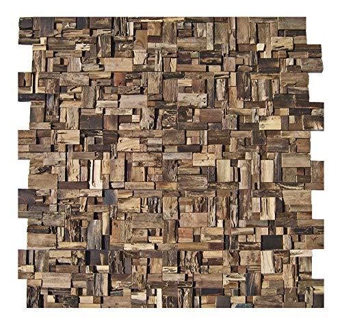 HO-005-1 Holz Mosaik-Fliese auf Netz Teak-Holz Wand-Verblender Wandtatoo Wandfliese Wanddekoration - Fliesen Lager Verkauf Stein-Mosaik Herne NRW