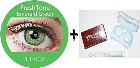 Lente de contacto de color Emerald Green 3tons + Avizor Solution multifunción para lente 10ml + Kit de almacenaje color aleatorio, caja incluye cortador y aplicador–12meses sin Correction