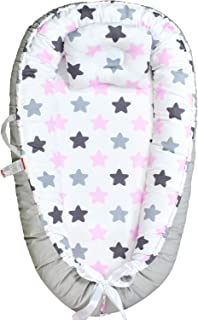 Abreeze Baby Nest Baby Bassinet for Bed Grey-Pink Stars Baby Lounger Breathable & Hypoallergenic Co-Sleeping Baby Bed 100% Cotton Portable Crib Pillow for Bedroom/Travel/Camping